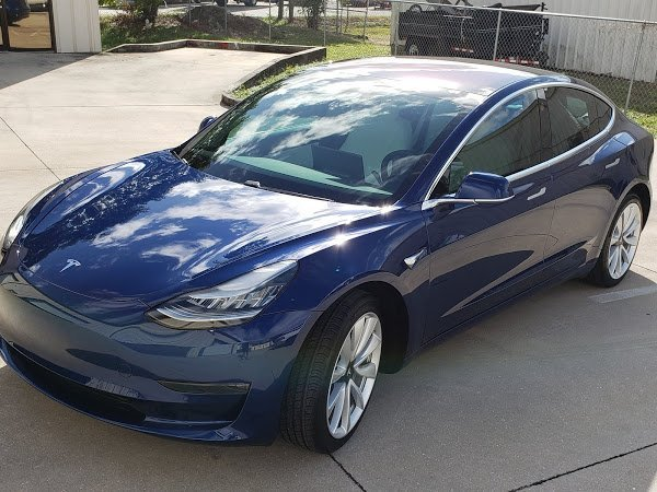 Blue Tesla Model 3 with XPEL Prime XR Plus, Dynoshield, and Ceramic Pro