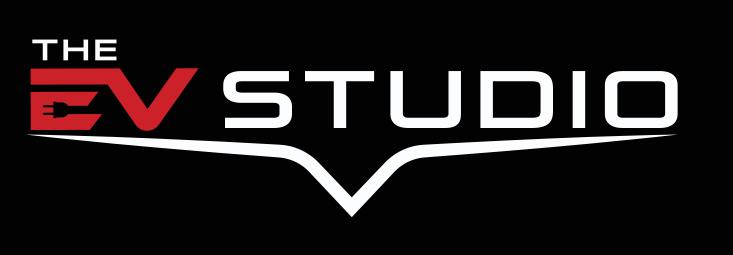 The EV Studio Logo White and Red